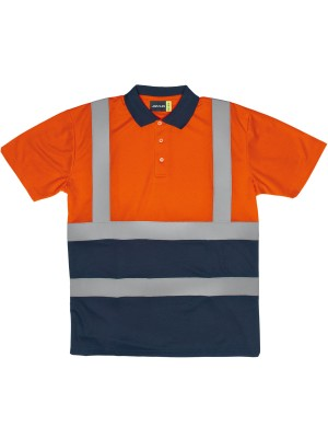 TWO TONE HI-VIS POLO WITH REFLECTIVE TAPE