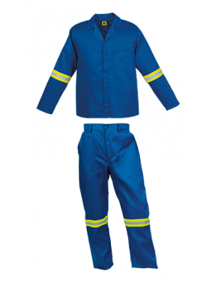 Royal Blue conti suit overalls  with Reflective Tape on arms and legs